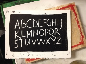 Woodblock alphabet printed letterpress 2014