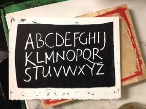 Woodblock alphabet printed letterpress 2014